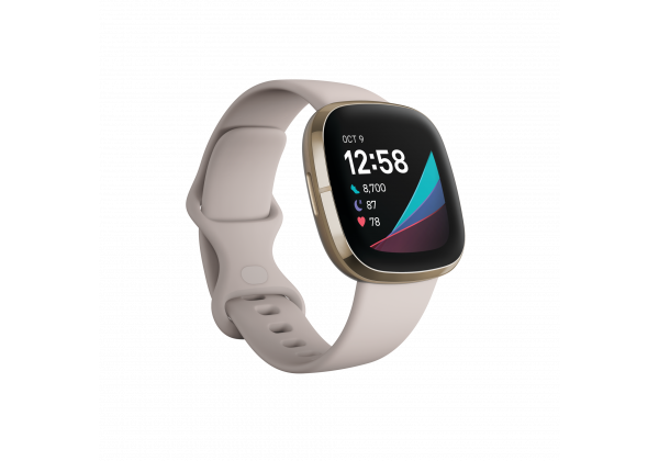 Fitbit_Sense_Render_3QTR_Core_Lunar_White_Soft_Gold_Clock_Default