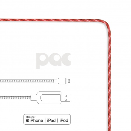 PAC Intelligent Power Flow Charge & Sync Cable Lightning to USB, 1m - Red