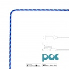 PAC Intelligent Power Flow Charge & Sync Cable 3in1, Lightning/USB-C/Micro USB to USB, 1m - Blue