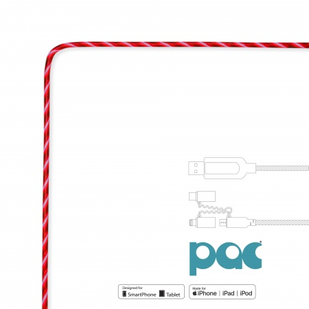 PAC Intelligent Power Flow Charge & Sync Cable 3in1, Lightning/USB-C/Micro USB to USB, 1m - Red