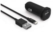 Griffin Single Port 2.4A Car Charger, w/ 1m Lightning Cable - Black
