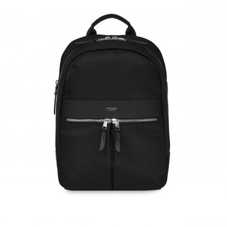 Knomo BEAUCHAMP M Backpack 12-inch Nylon w Full Grain Leather Trim - BLACK/SIL (Female)