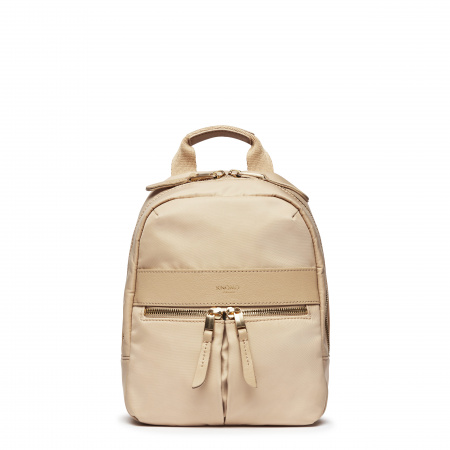 Knomo BEAUCHAMP XS Backpack 8-inch Nylon w Full Grain Leather Trim - TRENCH BEIGE (Female)