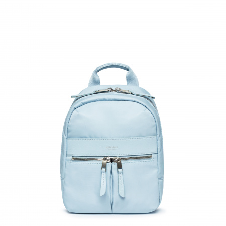 Knomo BEAUCHAMP XS Backpack 8-inch Nylon w Full Grain Leather Trim - POPLIN BLUE (Female)