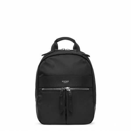 Knomo BEAUCHAMP XS Backpack 8-inch Nylon w Full Grain Leather Trim - BLACK/SIL (Female)