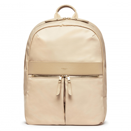 Knomo BEAUCHAMP L Backpack 14-inch Nylon w Full Grain Leather Trim - TRENCH BEIGE (Female)