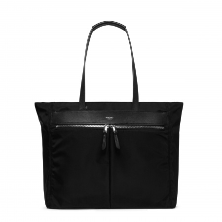 Knomo GROSVENOR PLACE LTote 15-inch Nylon w Full Grain Leather Trim - BLACK/SIL (Female)
