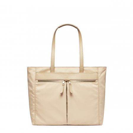 Knomo GROSVENOR PLACE MTote 14-inch Nylon w Full Grain Leather Trim - TRENCH BEIGE (Female)