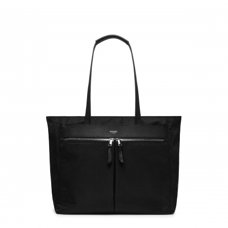 Knomo GROSVENOR PLACE MTote 14-inch Nylon w Full Grain Leather Trim - BLACK/SIL (Female)