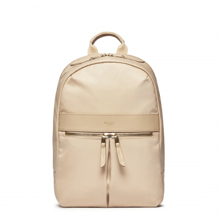Knomo BEAUCHAMP M Backpack 12-inch Nylon w Full Grain Leather Trim - TRENCH BEIGE (Female)