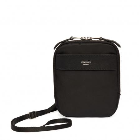 Knomo REXCross Body Nylon w Full Grain Leather Trim - BLACK/SIL (Female)
