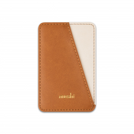 Moshi SnapToª Slim Wallet Magnetic card wallet with tap-and-go pass-through - Caramel brown