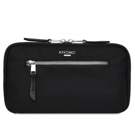 Knomo Travel WALLET Travel Walllet Nylon w Full Grain Leather Trim - BLACK/SIL (Tech&Acc)