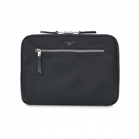 Knomo KNOMAD Everyday Organiser 10.5-inch w X Body Nylon w Full Grain Leather Trim - BLACK/SIL (Tech&Acc)