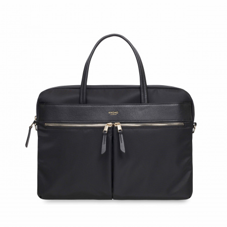 Knomo HANOVERSlim Breifcase 14-inch Nylon w Full Grain Leather Trim - BLACK (Female)