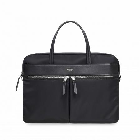 Knomo HANOVERSlim Breifcase 14-inch Nylon w Full Grain Leather Trim - BLACK/SIL (Female)