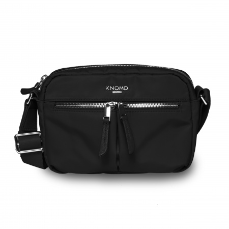 Knomo AVERYCross Body Nylon w Full Grain Leather Trim - BLACK/SIL (Female)