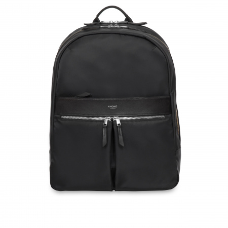 Knomo BEAUCHAMP XL Backpack 15.6-inch Nylon w Full Grain Leather Trim - BLACK/SIL (Female)