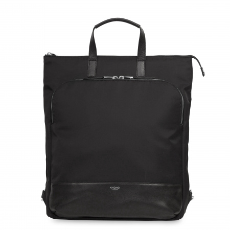 Knomo HAREWOODTotepack 15-inch Nylon w Full Grain Leather Trim - BLACK/SIL (Female)