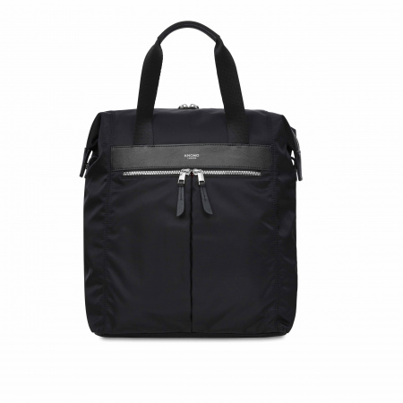 Knomo CHILTERN Backpack 13-inch Nylon w Full Grain Leather Trim - BLACK/SIL (Female)