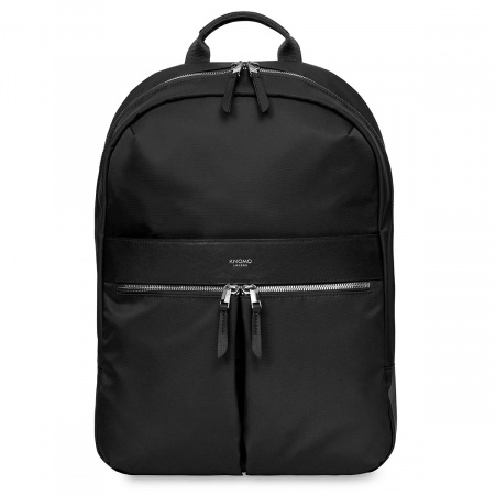 Knomo BEAUCHAMP L Backpack 14-inch Nylon w Full Grain Leather Trim - BLACK/SIL (Female)