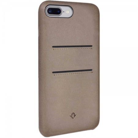 TwelveSouth Relaxed Leather Clip, with pockets, for iPhone 6 Plus/6s Plus/7 Plus/8 Plus - warm taupe