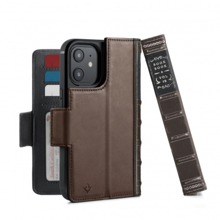 TwelveSouth BookBook Premium leather, all-in-one iPhone wallet case for iPhone 12/Pro - Brown