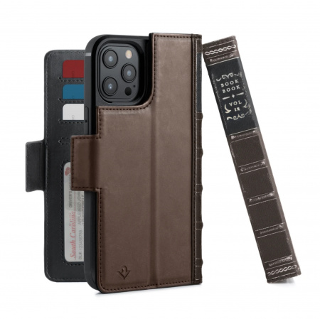 TwelveSouth BookBook Premium leather, all-in-one iPhone wallet case for iPhone 12 Pro Max - Brown