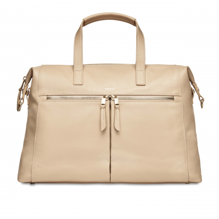 Knomo AUDLEYFold Down Breifcase 14-inch Full Grain Leather - TRENCH BEIGE (Female)