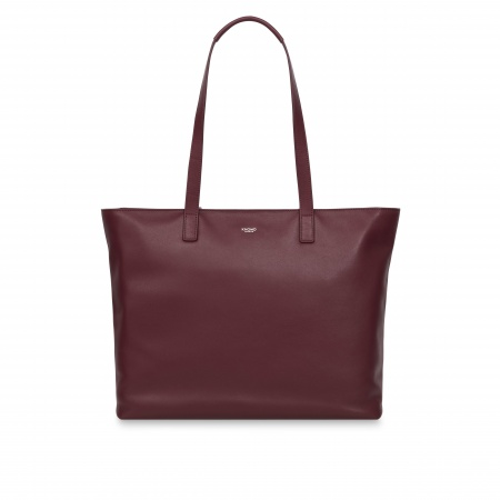 Knomo MADDOX Leather Tote 15inch - Burgundy