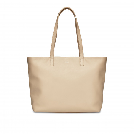 Knomo MADDOX LZip Top Tote 15-inch Full Grain Leather - TRENCH BEIGE (Female)