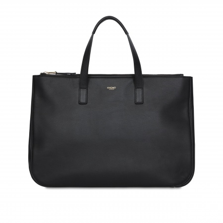 Knomo DERBY Leather Tote 14inch - Black