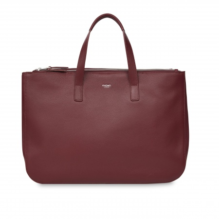Knomo DERBY Leather Tote 14inch - Burgundy
