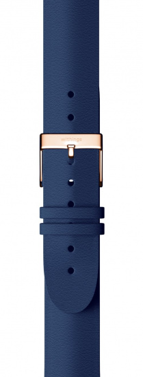 Withings Accessory Wristband for Steel HR 36mm, Move, Move ECG, Scanwatch 38mm - Blue Leather w Rose Gold Buckle