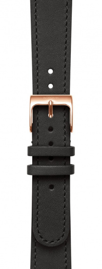 Withings Accessory Wristband for Steel HR 36mm, Move, Move ECG, Scanwatch 38mm - Black Leather w Rose Gold Buckle