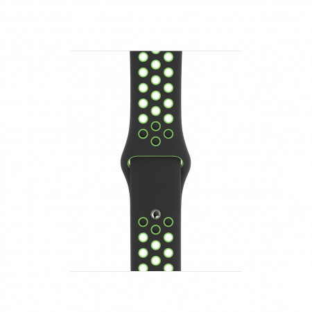 Apple Watch 40mm Nike Band:  Black/Lime Blast Nike Sport Band - Regular (DEMO) (Seasonal Spring2020)