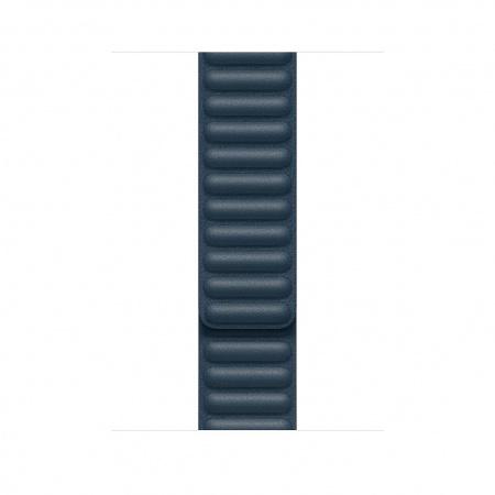 Apple Watch 44mm Band: Baltic Blue Leather Link - Large (DEMO) (Seasonal Fall 2020)