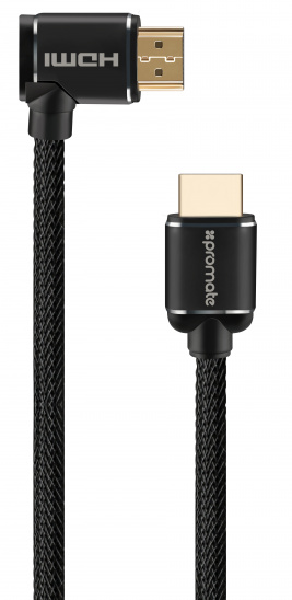 Promate ProLink4K1-150 HDMI Cable Right Angle 24K Gold Plated 4K UltraHD 1.5m - Black