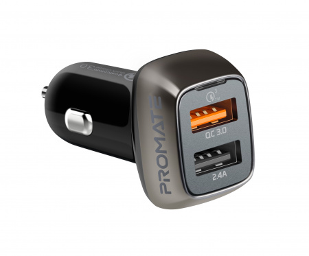 Promate Scud-30 CarCharger 1xUSB-A(2.4A) 1xQC(3.0A) Qualcomm QC InteliCharge¨ Technology - Black