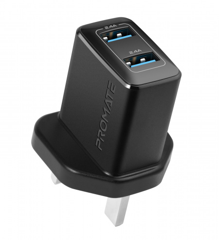 Promate BiPlug Wall Charger 2xUSB-A(2.4A) - Black