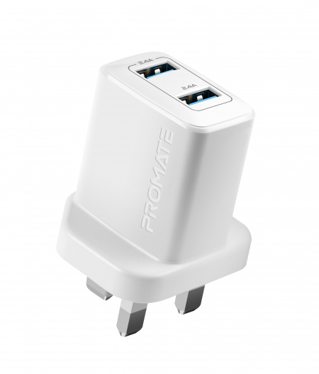 Promate BiPlug Wall Charger 2xUSB-A(2.4A) - White