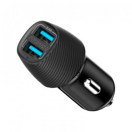 Promate VolTrip-Duo Dual Car Charger 1xUSB-A (2.4A) & 1xUSB-A(2.4A) - Black