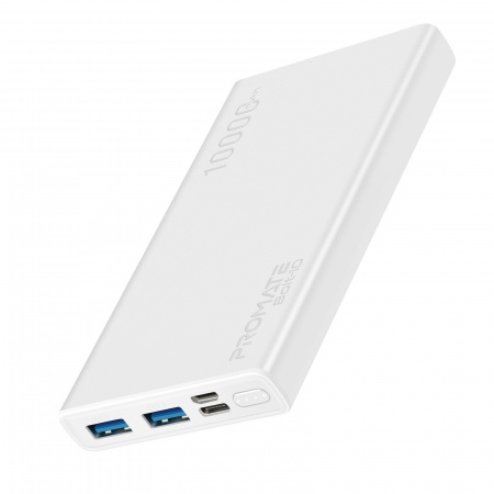 Promate Bolt-10 Power Bank Slim 10000mAh Fast Charging Output 2xUSB-A(2.0A) / Input 1xUSB-C(2.0A) Fast Charge-In & 1xMicro(2.0A) - White