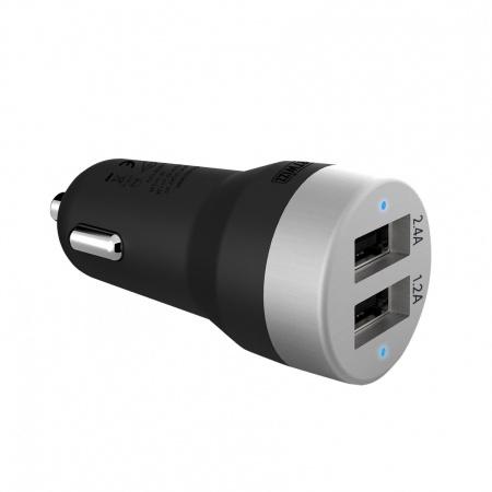 Artwizz CarPlug Double for Smartphones; Smartwatches and Tablets - Black/Alu