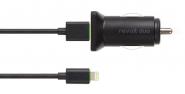 Moshi Revolt Duo - Dvojitá USB autonabíječka s Lightning káblem - Černá