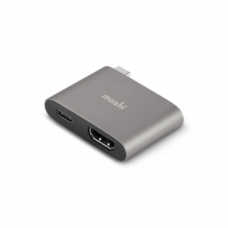 Moshi USB-C to HDMI Adapter w Charging (4K w HDR) - Titanium Gray