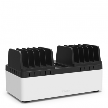 Belkin Store & Charge Go w Fixed Slots & 10 port USB Power (B2B141x & B2B139vf) - Black/White