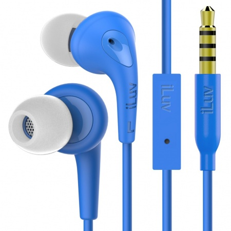 iLuv Bubble Gum 3 In Earphones with built-in mic and remote - Blue