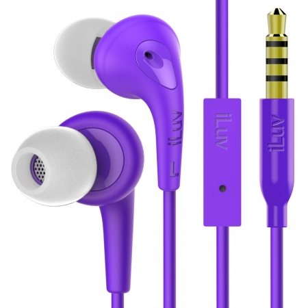 iLuv Bubble Gum 3 In Earphones with built-in mic and remote - Purple