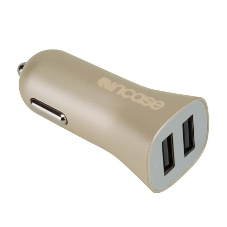 Incase High Speed Dual Car Charger with Lightning to USB cable - Gold
